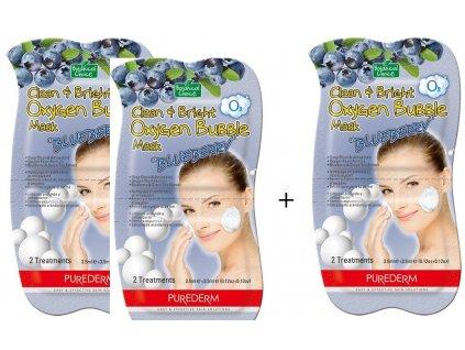 Purederm Čistiaca a okysličujúca bublinková maska s výťažkami z čučoriedok, AKCIA 2 + 1