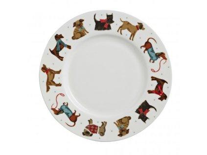 Obedový porcelánový tanier Hound Dog