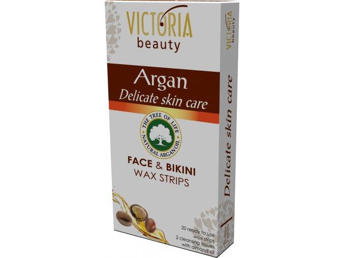 Victoria Beauty depilačné voskové pásiky na tvár a oblasť bikín s arganovým olejom