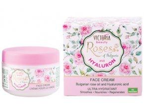 Victoria Beauty Roses and Hyaluron Denný hydratačný krém s ružovým olejom a kyselinou hyalurónovou, 50 ml