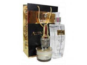 Victoria Beauty Active gold 24k Kozmetický balíček s aktívnym zlatom, pleťové sérum, pleťový krém a micelárna voda, 3 ks