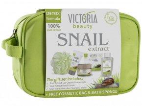 Victoria Beauty Snail Extract  Darčekový set so slimačím extraktom,3 kusy + rukavice a sprchový gél zadarmo