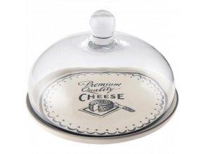 Keramický tanier so skleneným poklopom Gourmet Cheese