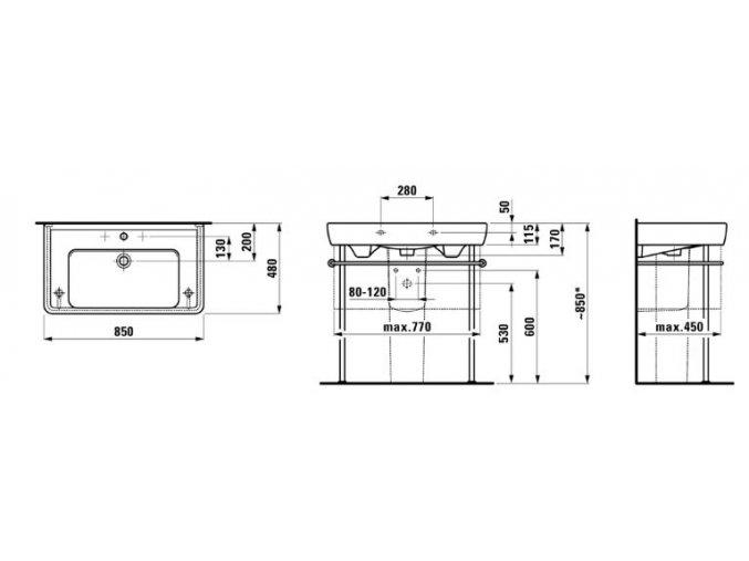 LAUFEN PRO A umyvadlo do nábytku 85 x 48 cm, H8139560001041
