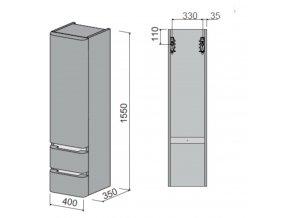 NATUREL skříňka vysoká - levá PAVIAV40DVL