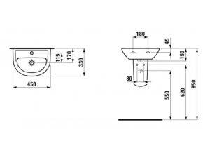 LAUFEN PRO B umývátko 45 x 33 cm, H8159520001041