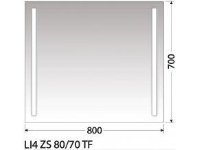 INTEDOOR zrcadlo s LED osvětlením LI4 ZS 80/70 TF