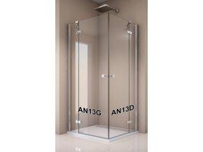 AN13 G 0800 50 07 SanSwiss Jednokřídlé dveře 80 cm s pevnou stěnou v rovině, levé