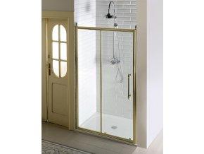 Gelco Antique Bronz posuvné sprchové dveře 140, sklo čiré s dekorem GQ4214