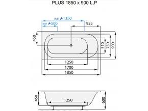 Santech hydromasážní vana PLUS  Body 200, 185 x 90 cm, automatický dohřev vody zdarma