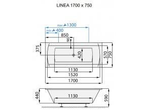 Santech hydromasážní vana LINEA  Body 200, 170 x 75 cm, automatický dohřev vody zdarma