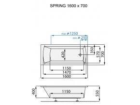 Santech hydromasážní vana SPRING  Body 200, 160 x 70 cm, automatický dohřev vody zdarma
