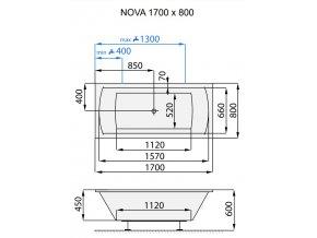 SANTECH masážní vana NOVA  Fitnes 200, 170 x 80 cm, automatický dohřev vody a automatický proplach Clean zdarma  F200NOV170