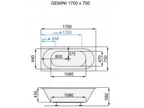 SANTECH masážní vana Gemini  Fitnes 200, 170 x 75 cm, automatický dohřev vody a automatický proplach Clean zdarma