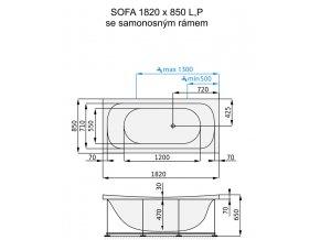 SANTECH masážní vana SOFA  Fitnes 200, 182 x 85 cm, automatický dohřev vody a automatický proplach Clean zdarma