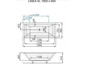 SANTECH masážní vana LINEA XL  Fitnes 200, 190 x 90 cm, automatický dohřev vody a automatický proplach Clean zdarma