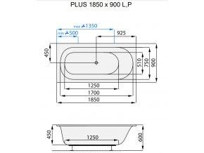 SANTECH masážní vana PLUS  Fitnes 200, 185 x 90 cm, automatický dohřev vody a automatický proplach Clean zdarma