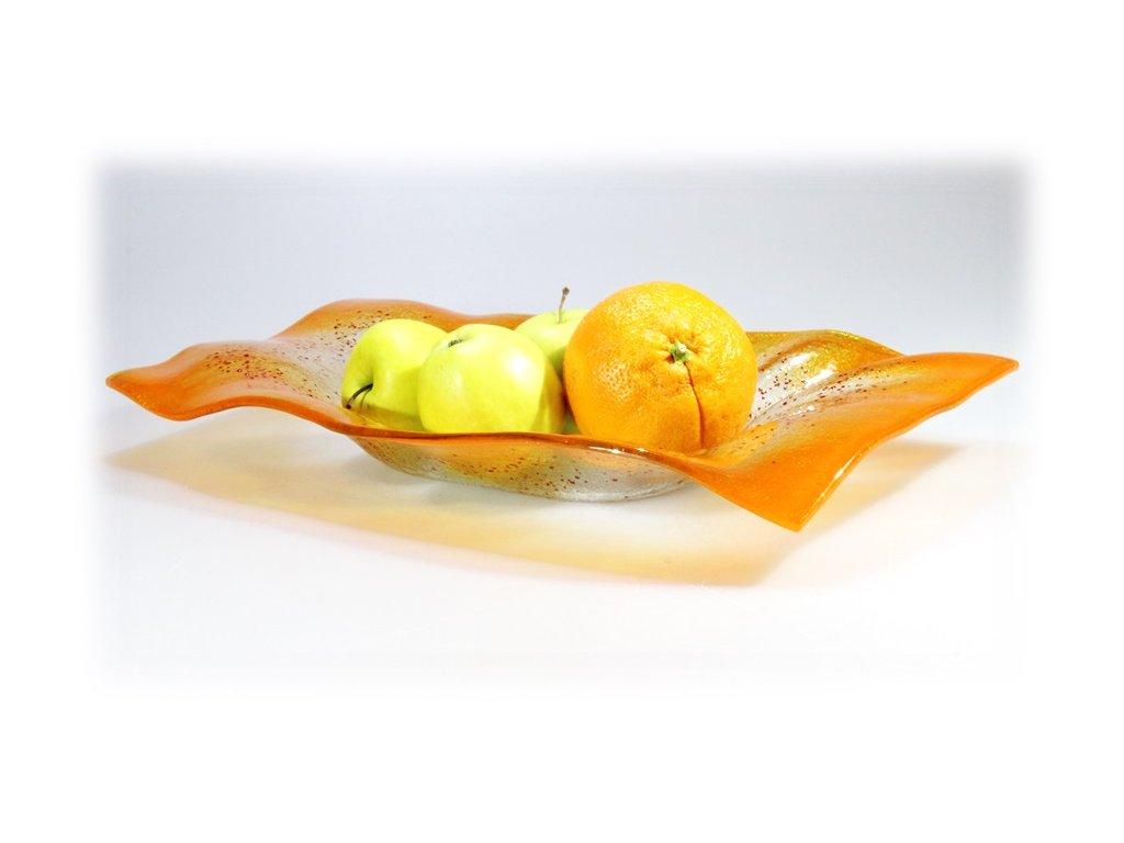 Skleněná obdélníková mísa VALENCE oranžová