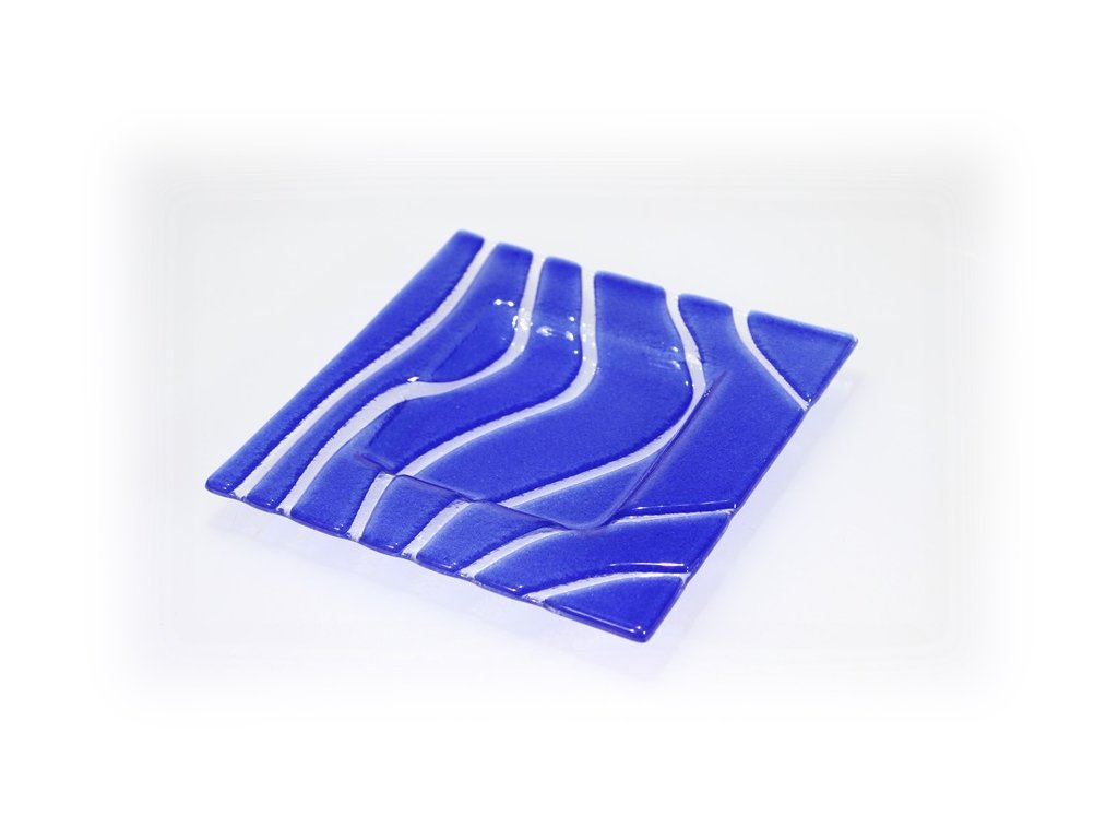 skleněný tácek modrý 15x15cm