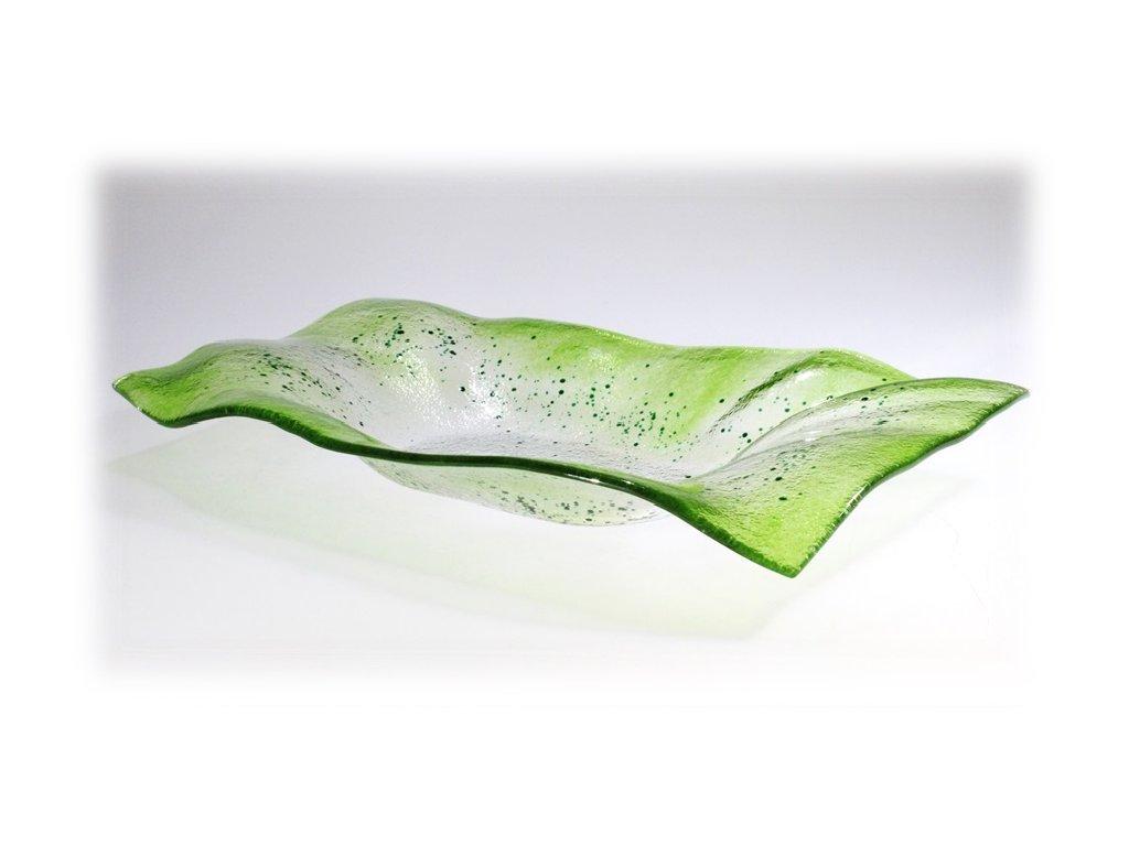 Skleněná obdélníková mísa VALENCE zelená