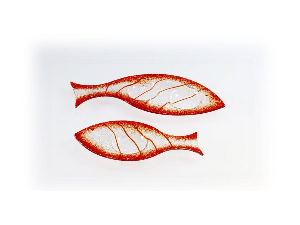 Skleněný svícínek rybička FISH červená