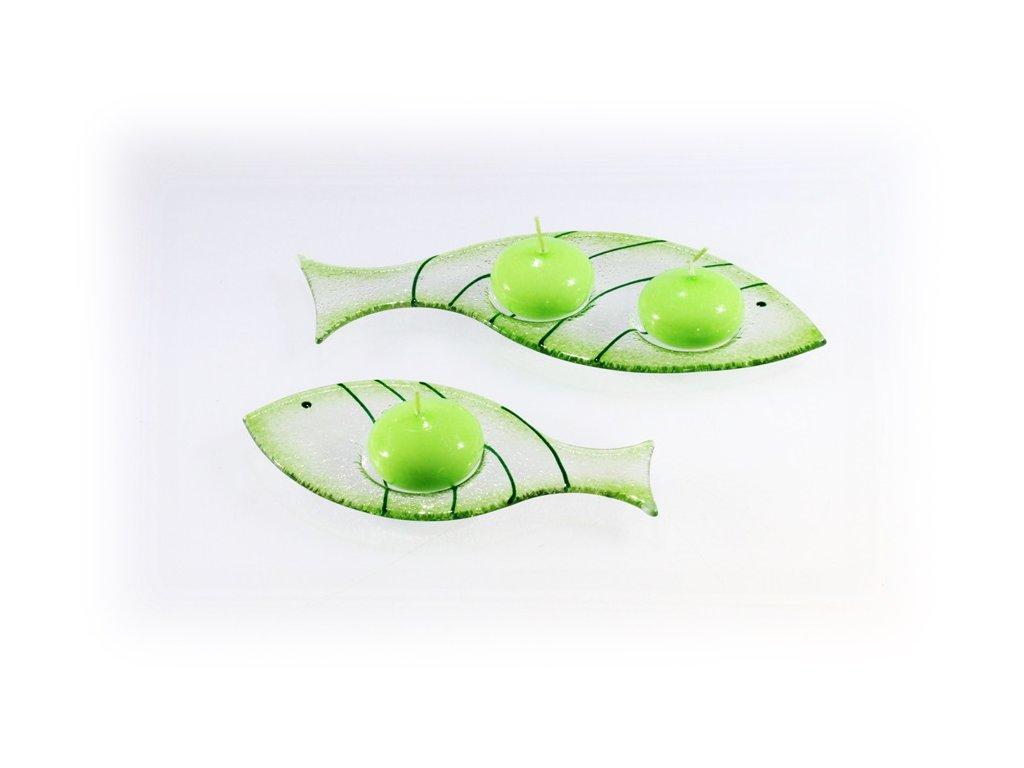 Skleněný svícínek rybička FISH zelená se svíčkou