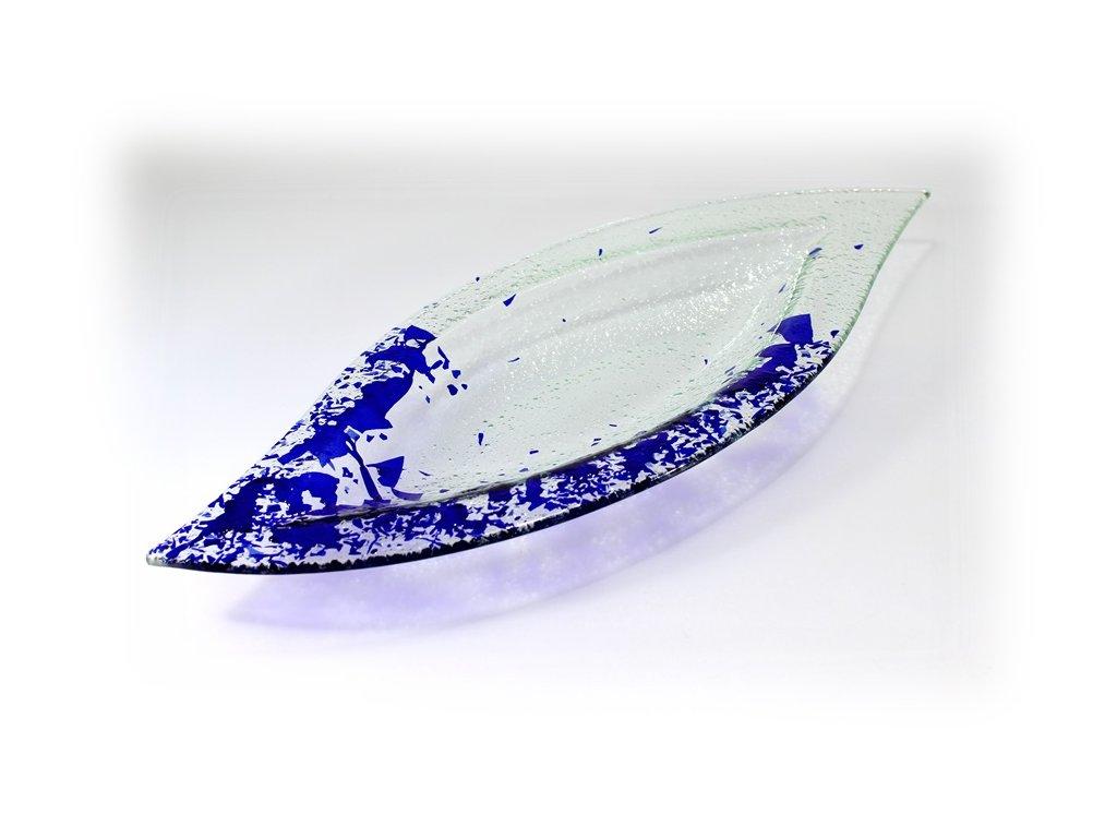 Mísa list modré střípky
