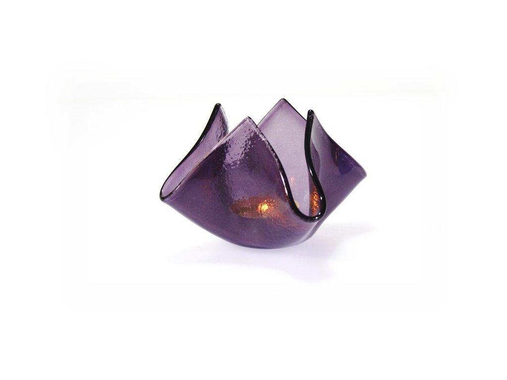 skleněný svícen květ fialový