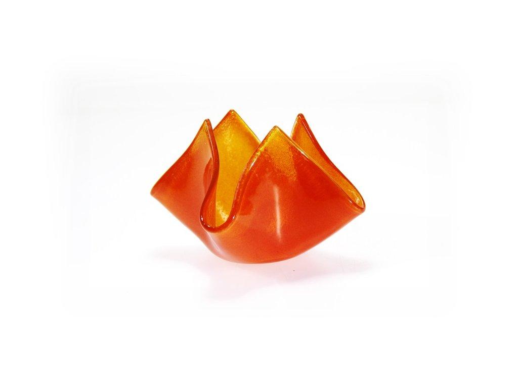 skleněný svícen květ světlá ambra