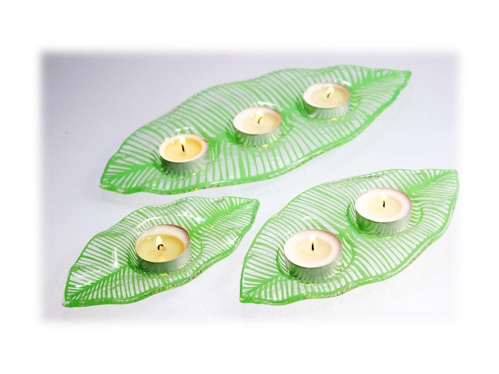 Skleněný svícen list s obtiskem zelený