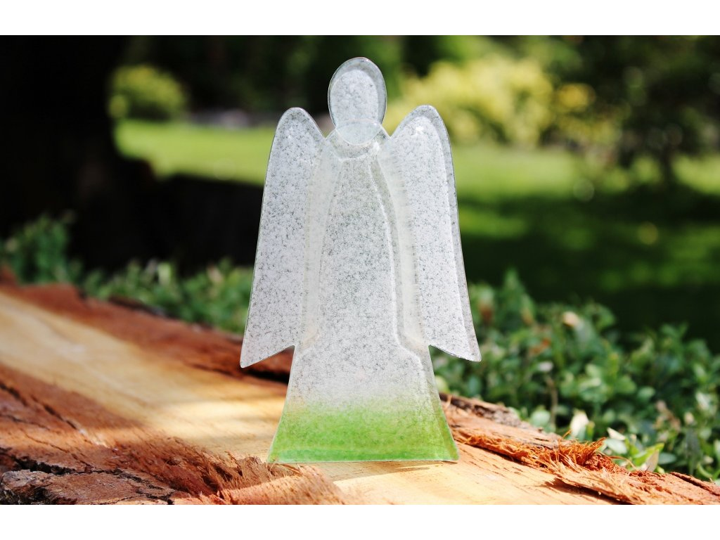 skleněný anděl na svíčku