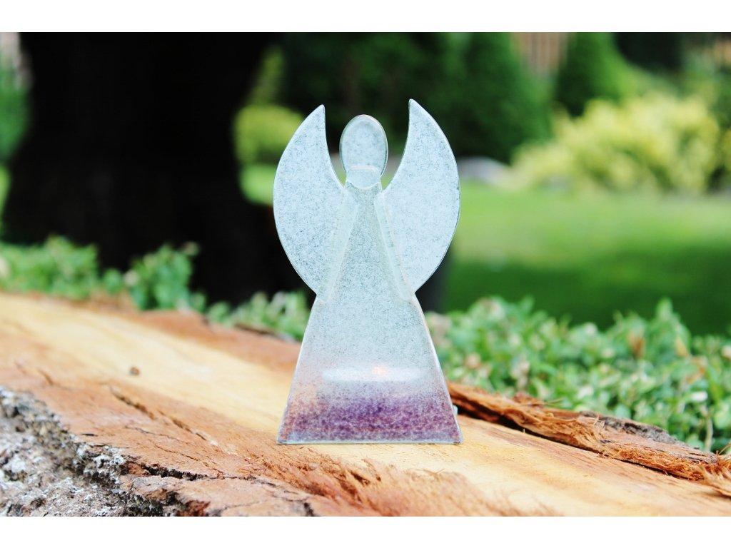 Skleněný svícen anděl 12cm - bílo-fialový