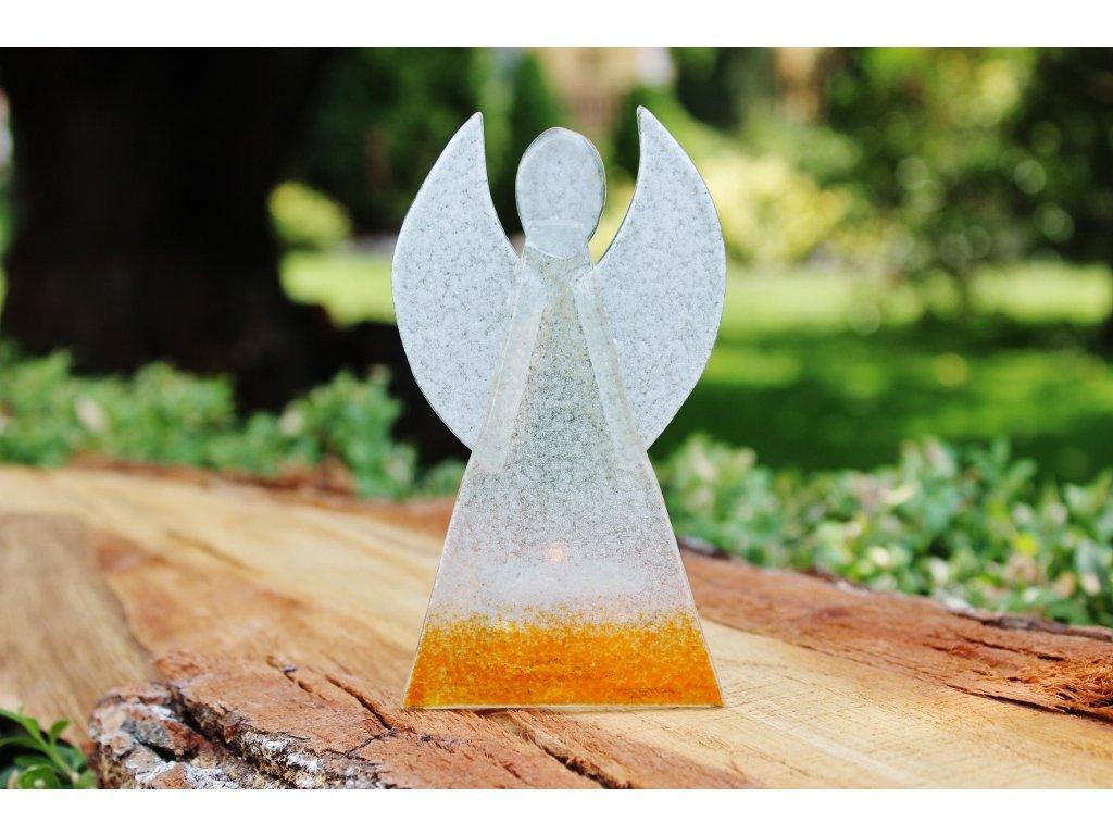 skleněný anděl oranžový