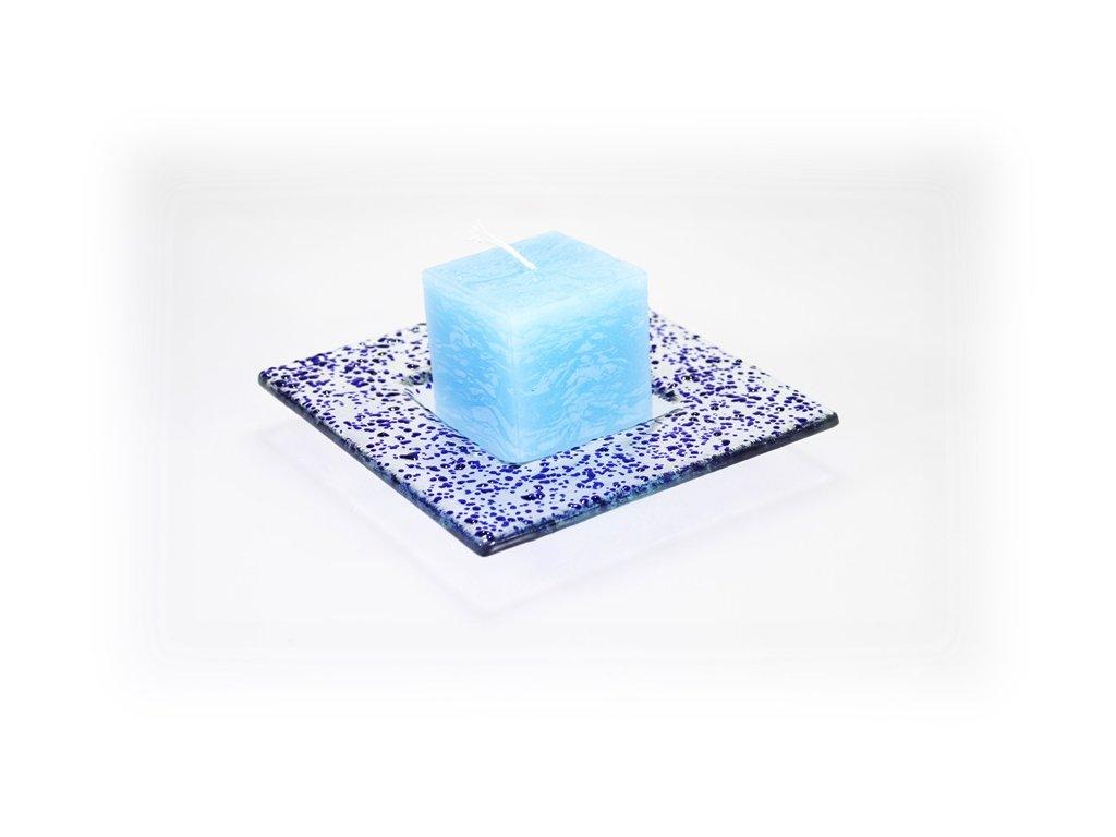 Drop skleněný talíř 13x13cm modrý