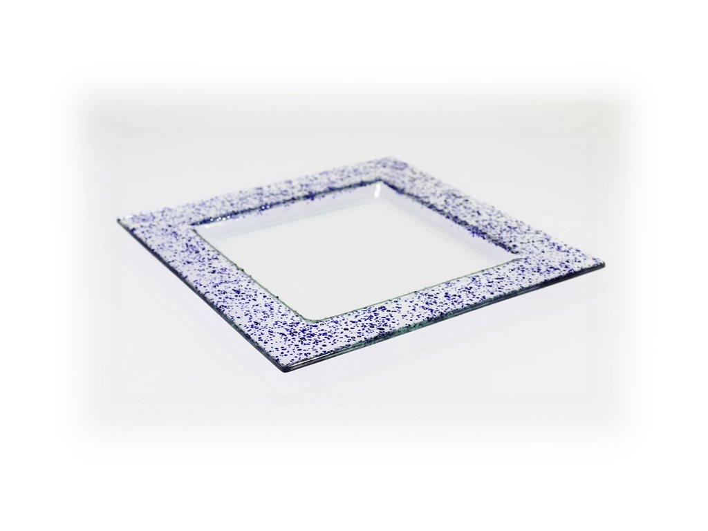 Drop skleněný talíř 25x25cm modrý