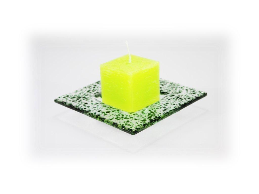 Drop skleněný tácek na svíčku 13x13cm tmavě zelený