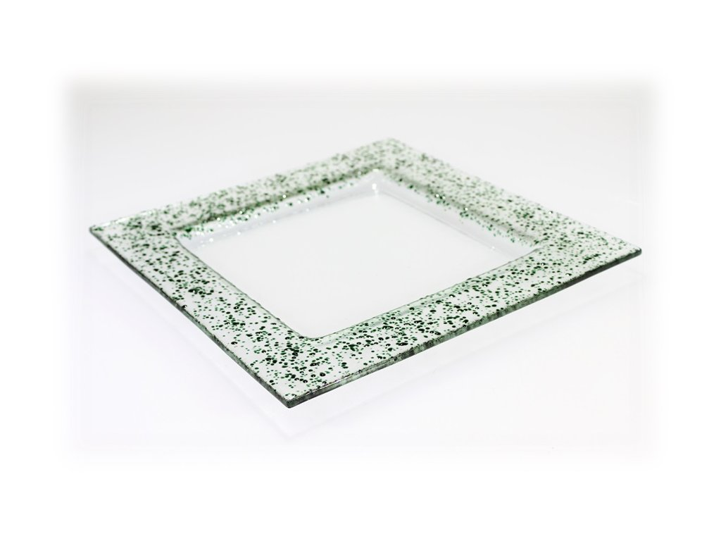 Drop skleněný talíř 25x25cm tmavě zelený