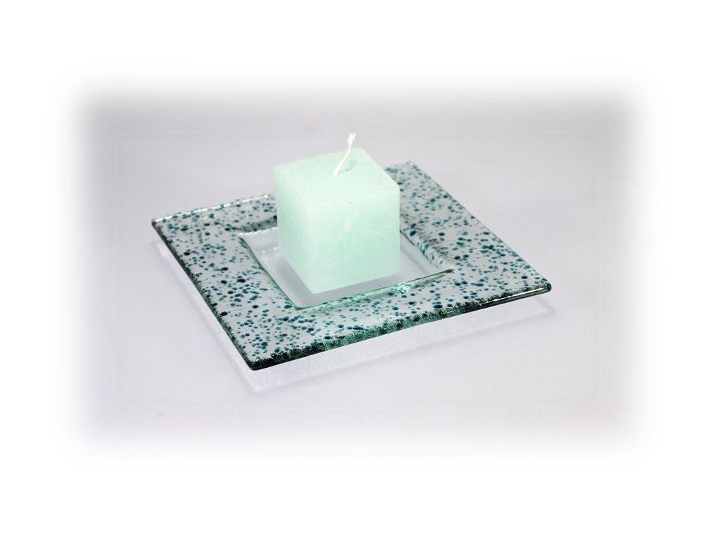 Drop skleněný tácek na svíčku 16x16cm tyrkys