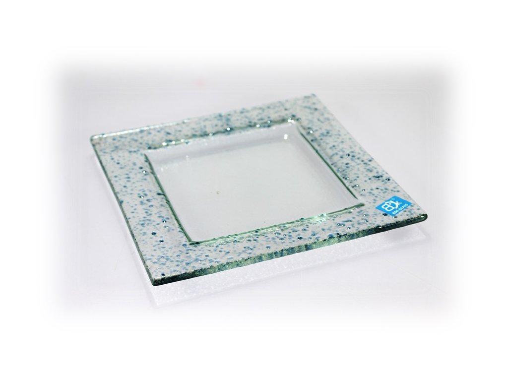 Drop skleněný tácek na svíčku 18x18cm světlý tyrkys