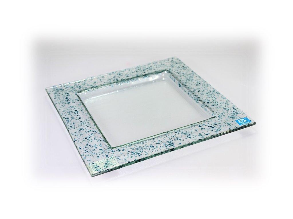 Drop skleněný talíř 25x25cm tyrkys