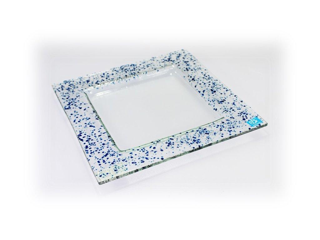 Drop skleněný talíř 25x25cm tmavý tyrkys