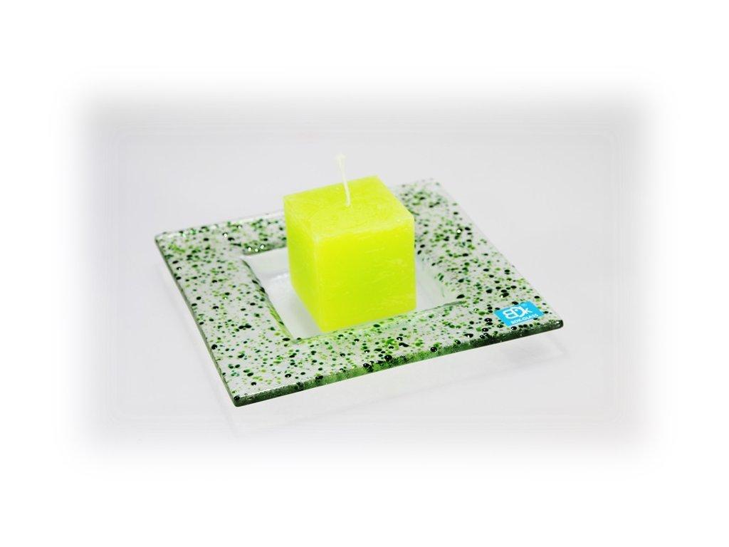 Drop skleněný tácek na svíčku 16x16cm zeleno zelený