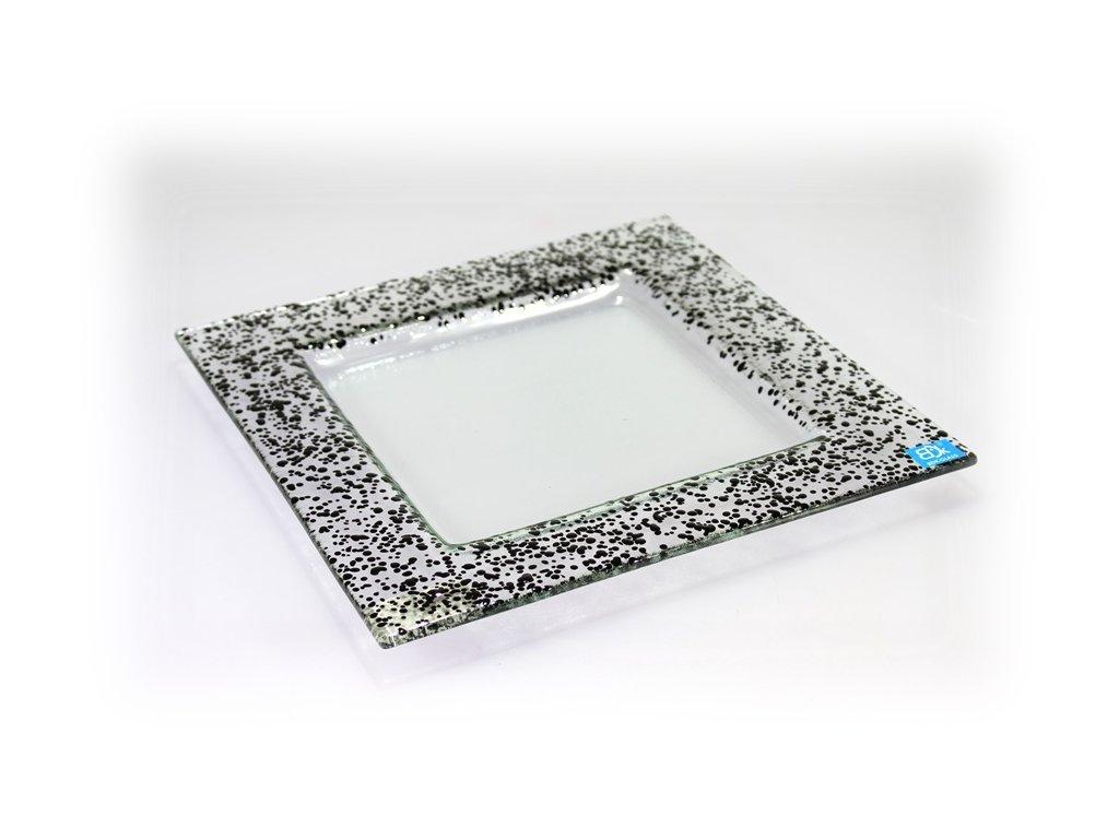 Drop skleněný talíř 25x25cm černý