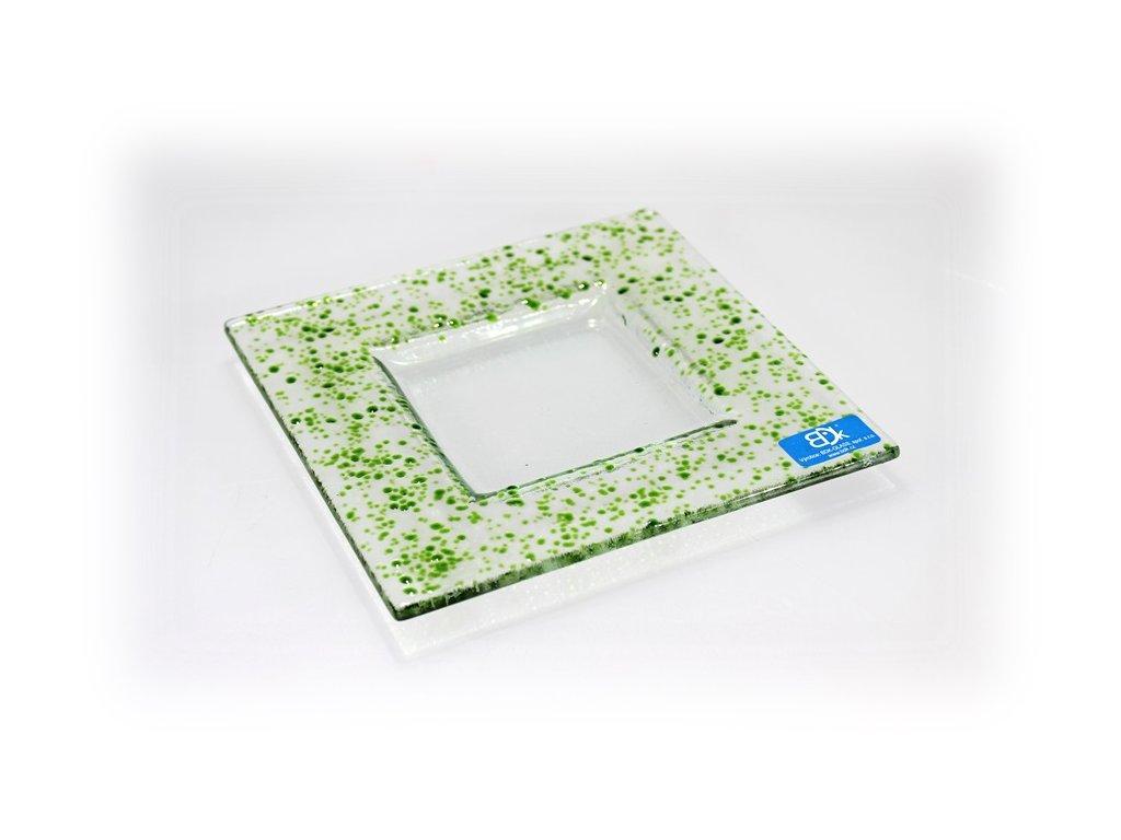 Drop skleněný tácek 16x16cm zelený