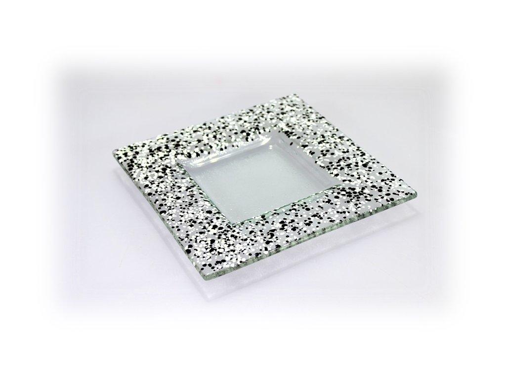 Drop skleněný taácek 16x16cm černo bílý