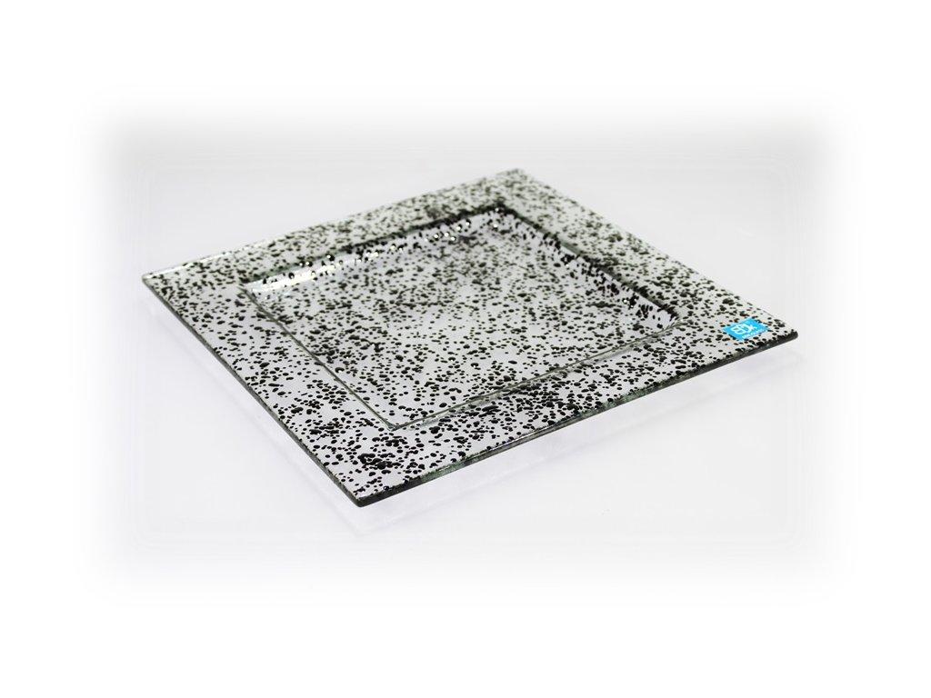 skleněný tác FULL DROP 25x25cm černý