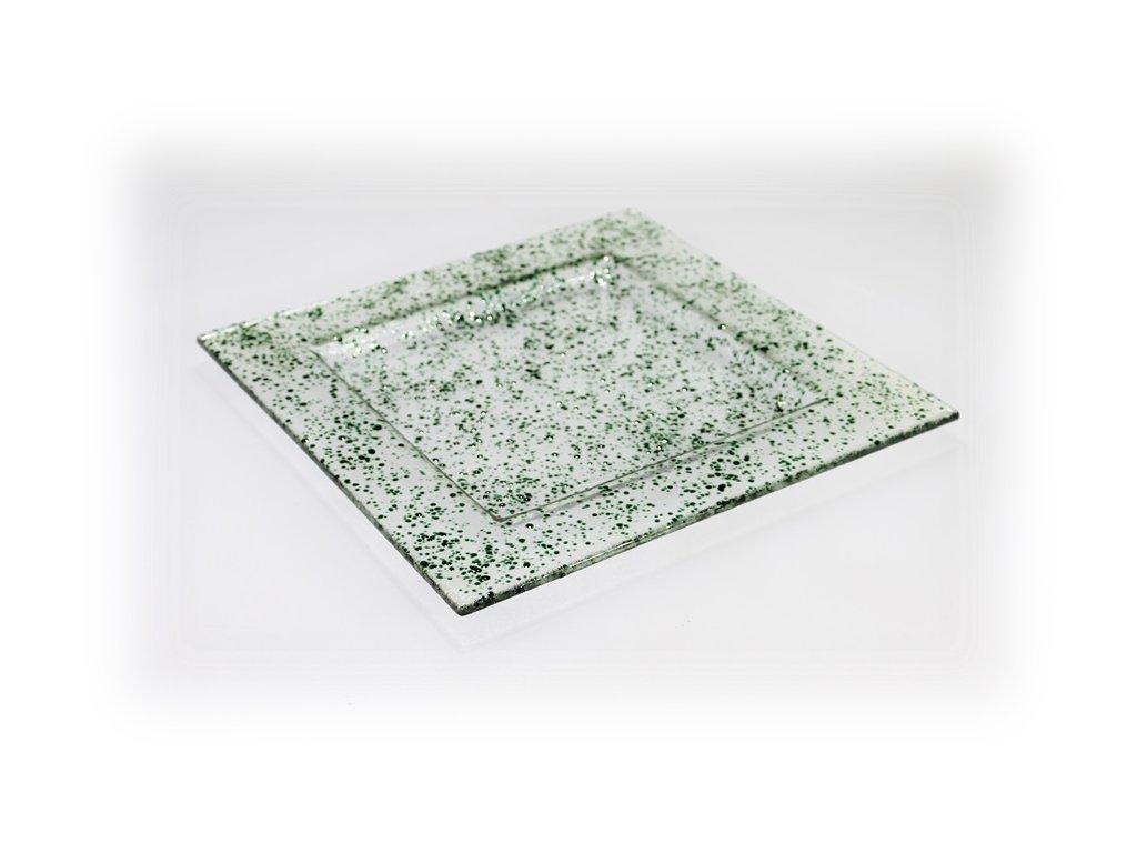 skleněný tác FULL DROP 25x25cm tmavě zelený