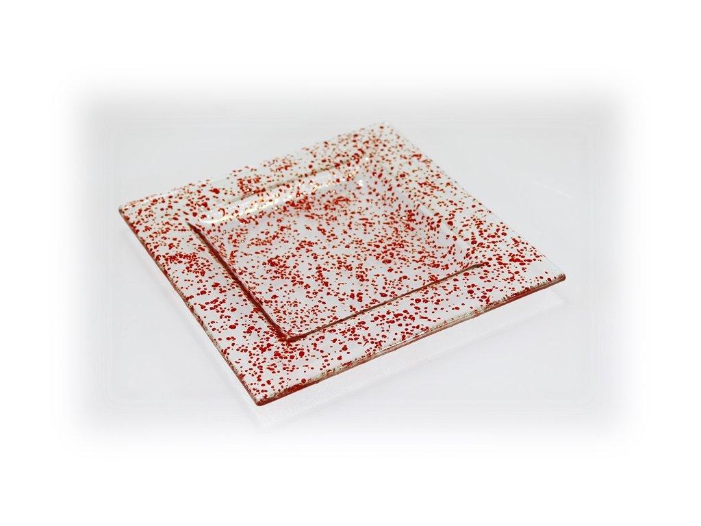 skleněný tácek FULL DROP 18x18cm červený