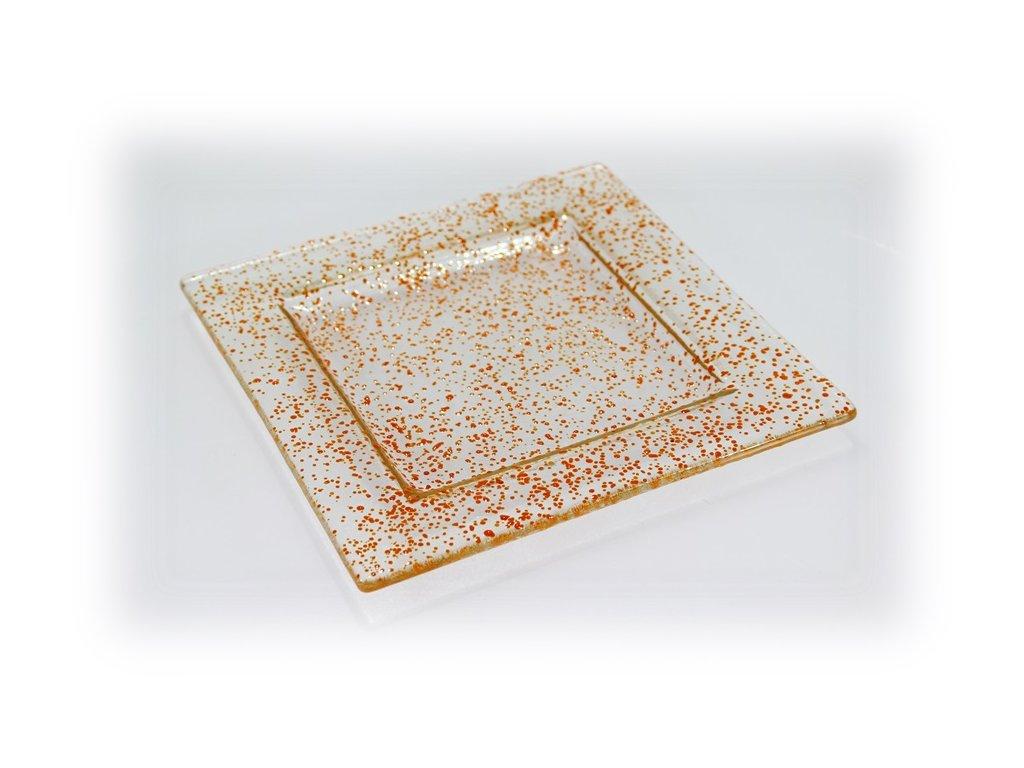 skleněný tácek FULL DROP 18x18cm oranžový