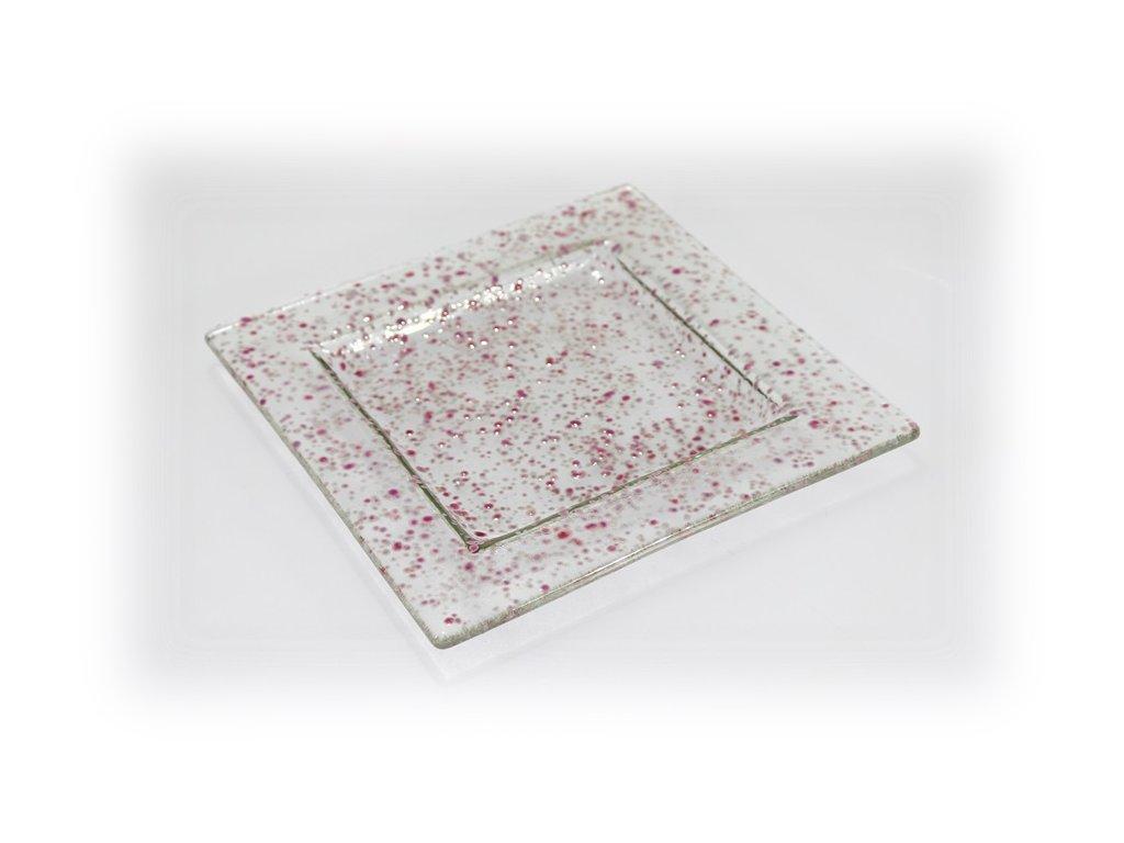 skleněný tácek FULL DROP 18x18cm růžový